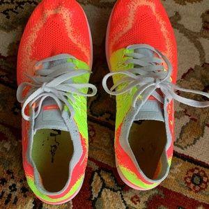 Nike Free RN Flyknit Coral Peach Neon Yellow 6.5 Y